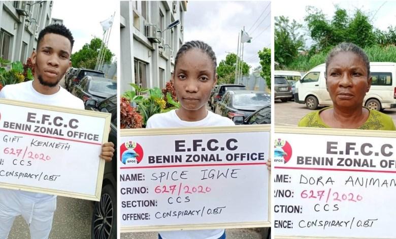 EFCC Arrests Yahoo Boy, Girlfriend And Mother Over Internet Fraud in Benin.(PHOTOS)